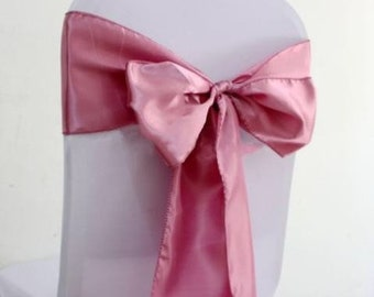 50x Dusty Pink Satin Chair Sashes Bows Tie Wedding Engagement Anniversary Reception Ceremony Function Bouquet Christening Baptism Decoration