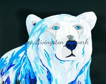 Acrylic painting - Polar Bear - Zoo Animals - Photo - Prints - Canvas