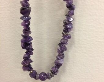 Amythest pebble beaded necklace