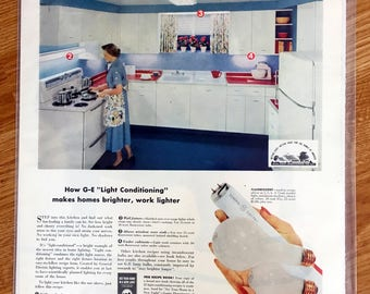 Vintage Advertising Print General Electric 1950s Kitchen Blue and White