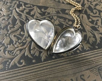Antique Victorian Pools of Light Glass Heart Locket