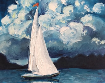 Sailboat on lake with blue clouds oil painting, original art, nautical art, clouds over water painting.