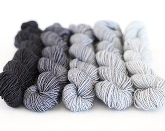 "Silver Sparkle Sock Mini Skeins, Gradient, 5 skein set, ""Twilight"", OOAK"