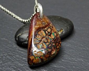 large Boulder opal necklace, big Australian opal pendant, large mens opal pendant, Koroit opal pendant, October birthstone gift for him