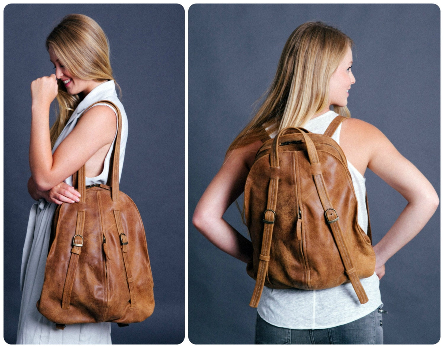 Leather Backpack Laptop Backpack Convertible Backpack
