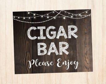 Cigar Bar sign. wedding cigar favors sign. PRINTABLE wedding favors sign. rustic wedding sign. cigar. smoke. cigar lounge.