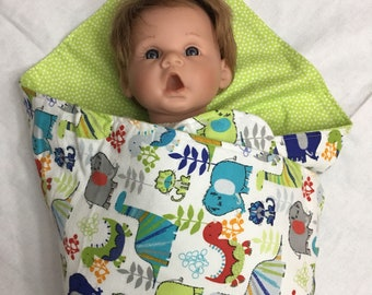Extra Large Receiving Baby Flannel Blanket- Dinosaurs, Elephants, Lime Green, Aqua, Orange,Red