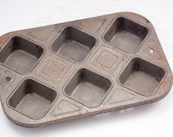 Ecko 61 Chicago Muffin Tin, Square Muffin Tin, Vintage Bakeware, Chicago Rustic Pan