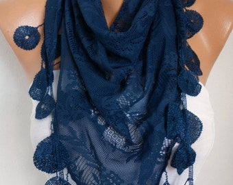 Dark Blue Lace Scarf,Sumer Scarf, Shawl, Women Scarves, Cowl Scarf Bridesmaid Gift Gift Ideas For Her Women Fashion Accessories