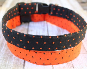 Halloween Dog Collar - Polka dot Dog Collar - Orange and Black Dog Collar -  Halloween Dog Leash - Halloween Dog Harness