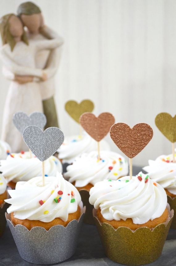 Glitter Heart Cupcake Toppers - Available in gold, silver, bronze, copper, blue, purple, yellow, red, and many more colors!