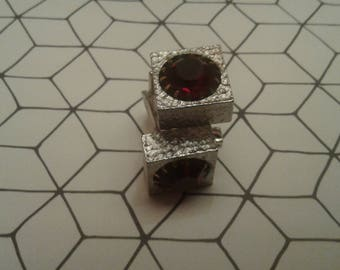 Dramatic Geometric Brutalist Cufflinks with Red Stones