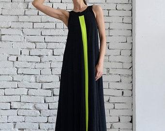 SALE Long Black Dress / Maxi Black Dress / Neon Line Dress / Black Kaftan / Oversize Stage Dress by METAMORPHOZA