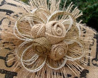 Burlap Flower Wedding Cake Topper - Rustic Wedding, Barn Wedding, Country Wedding