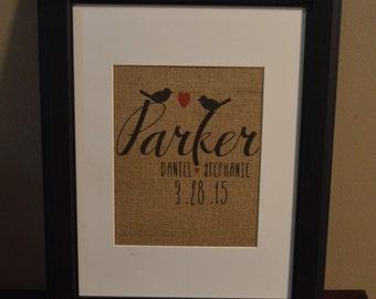 Personalized Burlap Print, Love Birds Burlap Print,Burlap Established Print with Last Name, Burlap Wall Art, Wedding Gift Idea Y1Y