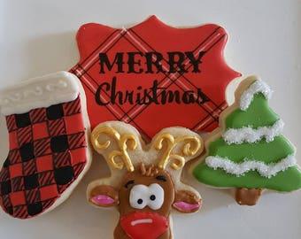 Plaid Reindeer/Moose Cookie Gift Box