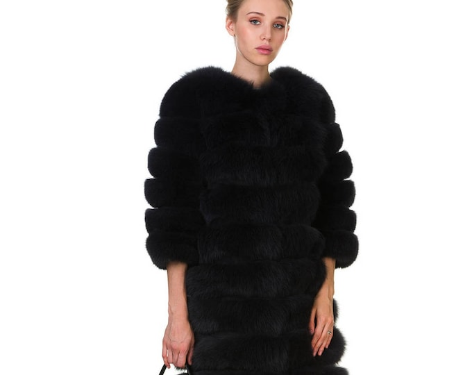 Luxury Fox Coat with Leather Stripes F843