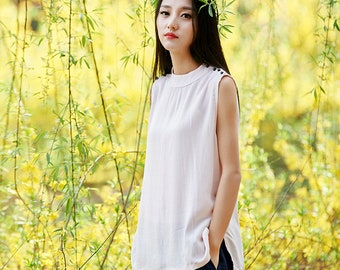 2018 NEW! Linen and Cotton New Style Sleeveless Blouses – New Style Women Sleeveless Blouses