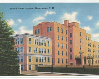 "New Hampshire, Vintage Postcard, ""Sacred Heart Hospital, Manchester, New Hampshire,""  1950, #1155."