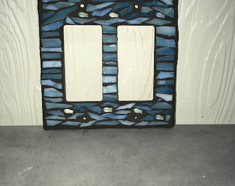 Blue glass mosaic double gfci switch plate cover
