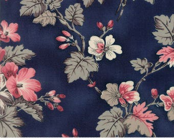 Sweet Blend Fabric - Moda Fabric - Half Yard - Floral Spring Sprouts Blueberry Dark Blue Large Scale Print Laundry Basket Quilts 42290 12