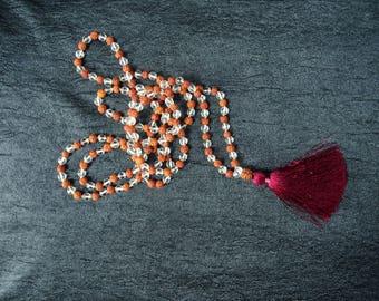 Mala Beads - Rudraksha & Quartz