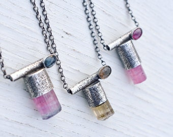 Time, Again-  Tourmaline in sterling and  fine silver- necklace- talisman
