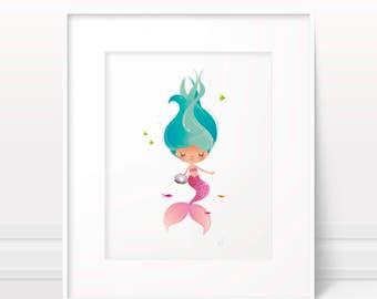 Baby girl nursery decor, nursery wall art, mermaid print, girls room decor, mermaid poster, mermaid decor, mermaid wall art, nursery print
