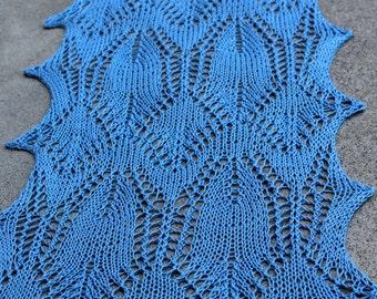 Cornflower Blue Big Fish in a Little Pond Pima Cotton Lightweight Rectangular Lace Scarf or Wrap