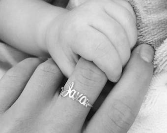 Baby Name Ring, Mothers Ring, Personalized Ring With Kids Name, Sterling Silver, Name Ring, Personalized Gift, For Mom, Childs Name, New Mom