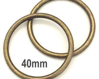 ANTIQUE BRASS o-rings 40mm ID / One and One Half Inch o Rings / Brass O Ring / Strap Hardware / O rings / Set of Two O Rings