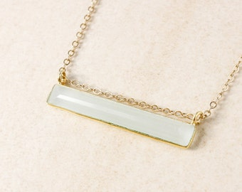 Aqua Chalcedony Bar Necklace - 14K GF - Horizontal Necklace