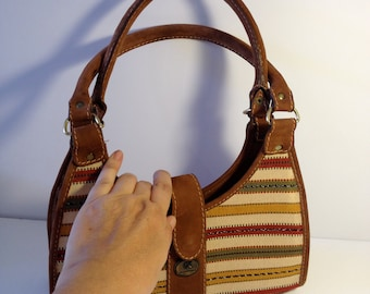Guatemala Brown Leather and Fabric Purse - Off White ,Red,Green and Yellow Stripes - Vintage Ethnic Guatemalan Textile