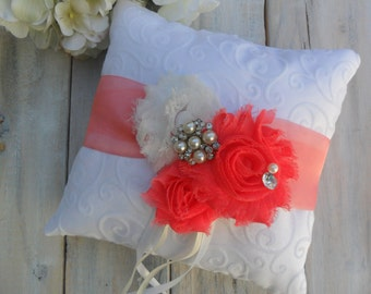 Ring Bearer Pillow, Coral Ring Bearer Pillow, Shabby Chic Ring Bearer Pillow, Bridal Accessory, Ring Pillow, YOUR CHOICE COLOR