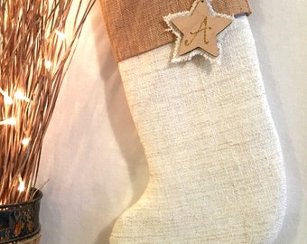 Hessian Cuffed Christmas Stocking, including tag. Padded and Lined for Children or Adults. (Other options cuffs see list)