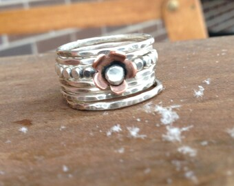 Sterling silver beaded polka dot stacking ring copper flower stackers stack set of 7 jewelry