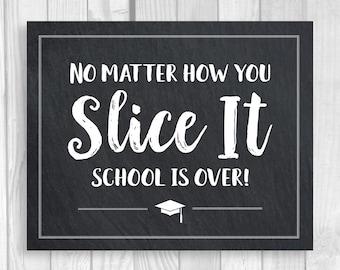 SALE Graduation Pizza Party 5x7, 8x10 Printable Chalkboard Sign - No Matter How You Slice It - College or High School - Instant Download