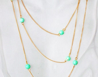 Long Goldtone Chain with Turquoise Necklace,Handmade Jewelry,Natural Stone, 412