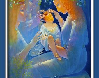 Fairies , womans, baby , pray, blue, love