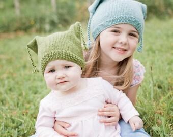 PDF Knitting Pattern - Square Tassel Hats 2 variations