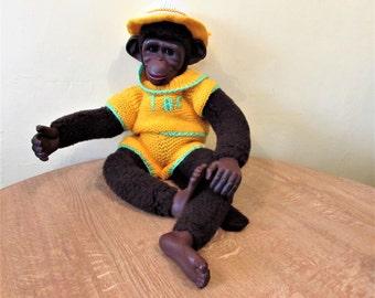 Large Vintage Monkey With Sleep Eyes In Knitted Outfit.    / MEMsArtShop