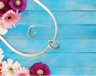 Lowercase 'c' Sterling Silver Charm Necklace With Gift Box