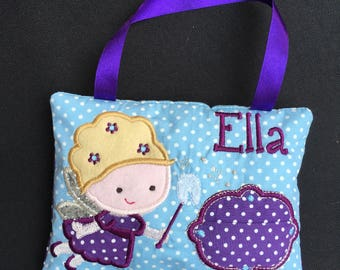 Tooth Fairy Cushion, Tooth fairy pillow, personalised tooth fairy cushion, nursery decor, Tooth pillow, tooth door hanger