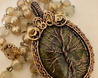 Dragon Bloodstone Tree of Life Pendant w/ intricate wire weave.  Dragon Bloodstone properties are Healing, Courage, Strength