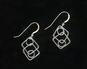 Square Earrings Open Wire Jewelry Sterling Silver Earrings Chain Link Squares Circles Dangle Earrings Jewelry Gift