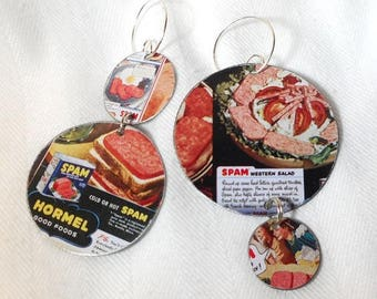 SALE Recycled SPAM Tin Earrings ala Repurposed Ear Art for the Spam Chef OH Ya, One of a Kind!