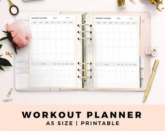 A5 Size Personal Planner Inserts, Workout Planner, Fitness Planner, Health, Blush and Gold Printable Planner Inserts, Planner Pages