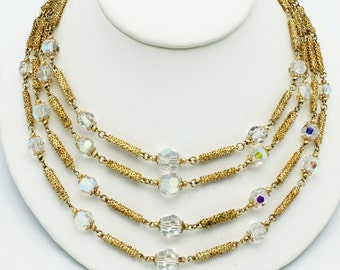 Vintage Vendome Necklace Textured Gold and Crystal Beads
