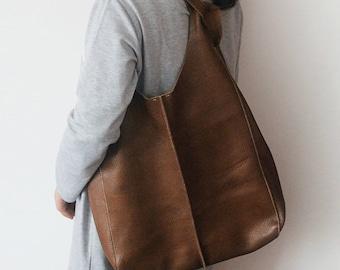 Leather Tote Bag – Brown - Medium Size Handmade Leather Tote - Brown Leather Bag
