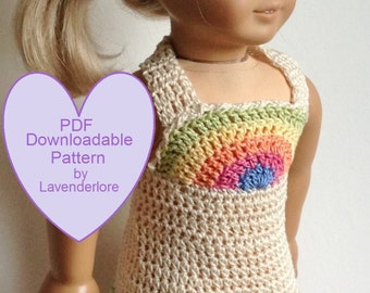 """PDF CROCHET PATTERN by Lavenderlore for 18"""" Girl Dolls - Rainbow Bodice Crocheted Sundress - Permission to Sell Finished Item"""